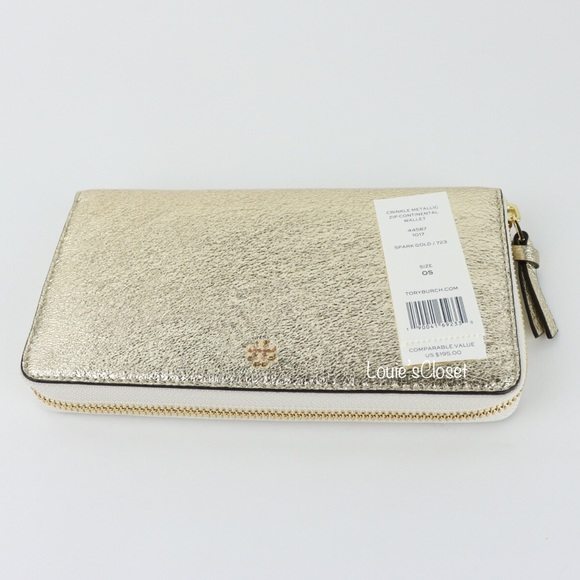 514da33ce556 Tory Burch Crinkle Metallic Zip Continental Wallet